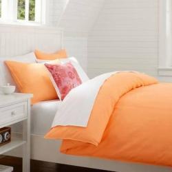 Sprei Polos oranye-muda-vs-putih
