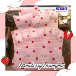 Sprei STAR Strawberry Saranghae Pink