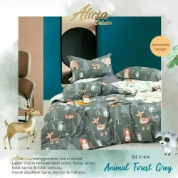 Sprei ALICIA Animal Forest Grey