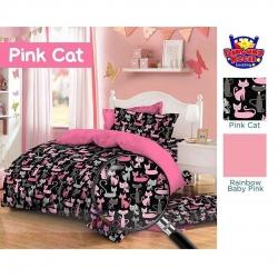 Sprei Star pink-cat-hitam
