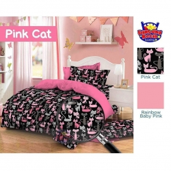 Sprei Star pink-cat-hitam