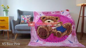 Selimut Bulu Lembut New Seasons Bear Pink