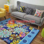 Karpet Selimut Karakter Rosanna RO Blue Flower