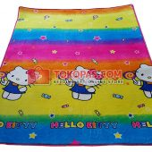 Karpet Selimut Bulu Lembut Murah Junior JN Hello Kitty Rainbow