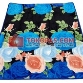 Karpet Selimut SE Black Blue Flower