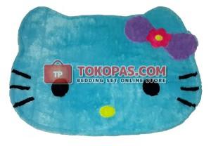 Karpet Bulu Rasfur / Bulu Boneka Kepala HK. Biru Mint Pita Ungu Tua