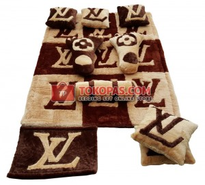 Karpet Rasfur LV Kotak Full Set Coklat Tua vs L. Brown
