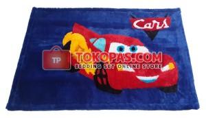 Karpet Rasfur / Bulu Boneka Cars Dasar Biru BCA