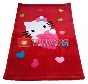 Karpet Rasfur / Bulu Boneka HK. Love Dasar Merah