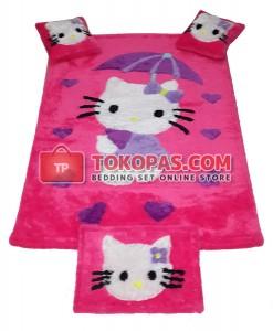 Karpet Bulu Rasfur / Boneka Bulu HK. Payung Fanta Baju Ungu Set