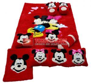 Karpet Fullset Rasfur Mickey Minnie Dasar Merah