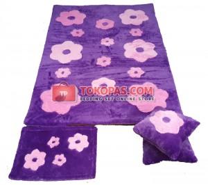 Karpet Rasfur Bunga Tabur Dasar Lavender