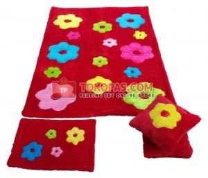Karpet Rasfur Bunga Tabur Dasar Merah