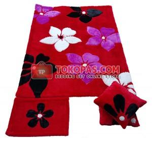 Karpet Rasfur Flowers Dasar Merah