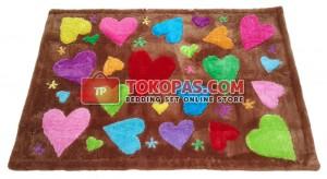 Karpet Rasfur Love Story Dasar Coklat Muda