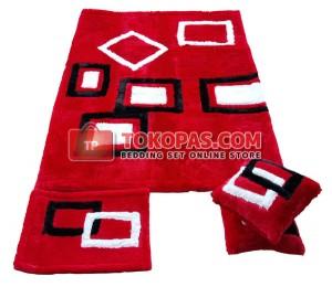 Karpet Rasfur Minimalis Kotak Dasar Merah