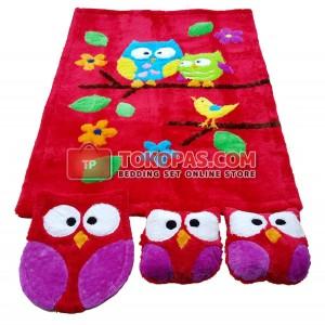 Karpet Rasfur Owl Dasar Merah