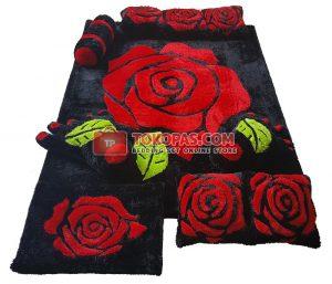 Karpet Rasfur Rose Merah Dasar Hitam