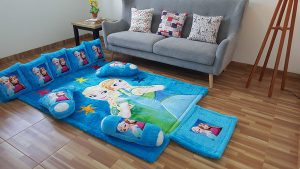 Karpet Rasfur Full Set Frozen Fever Dasar Biru Elmo