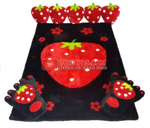 Karpet Rasfur Full Set Big Strawberry Merah Dasar Hitam