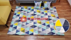 Karpet Katun Blue Trivia + 2 Bantal