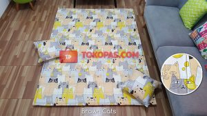 Karpet Katun Brown Cats + 2 Bantal