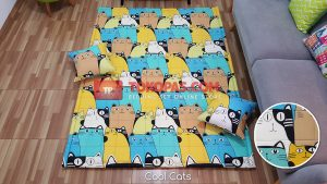Karpet Katun Cool Cats + 2 Bantal