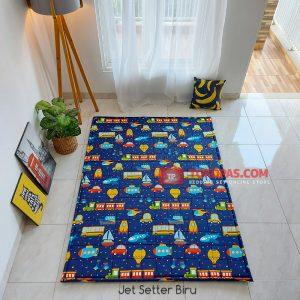 Karpet Lantai Katun - Jet Setter Biru