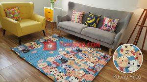 Karpet Katun Kucing Hijau