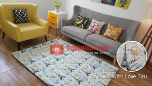 Karpet Katun Paris With Love Biru